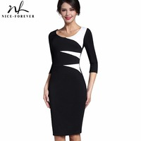 Nice-forever Vintage Stylish Ladylike Casual Patchwork 3/4 Sleeve O-Neck Bodycon Women Office Wear to work Pencil Dress B346