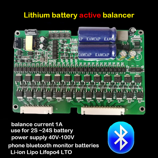 1A Balance Lithium Battery Active Equalizer Bluetooth APP 2S ~ 24S BMS Li-ion Lipo Lifepo4 LTO Balancer eBike Protection Board