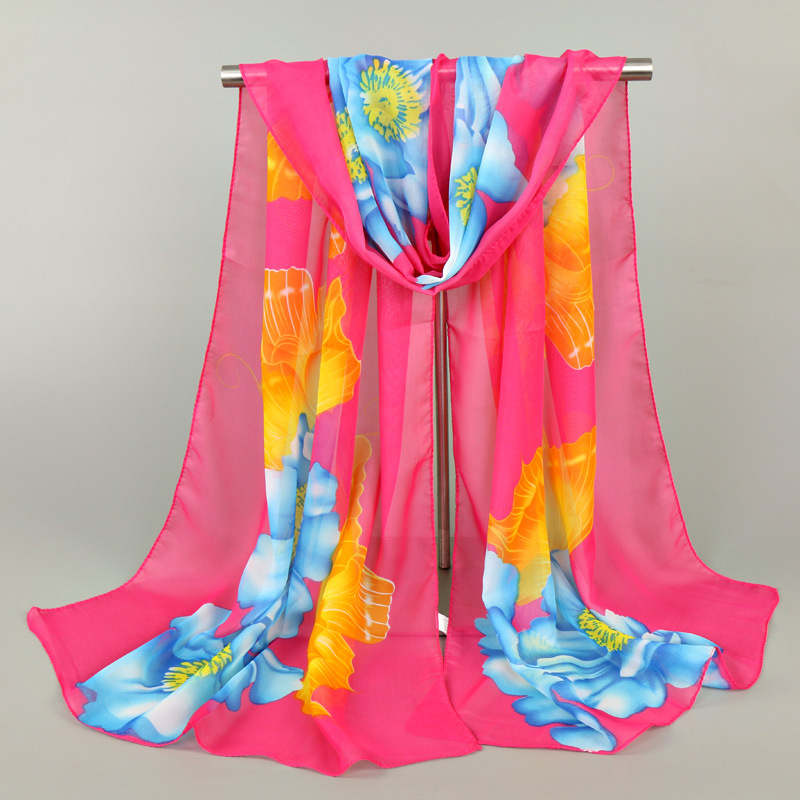 Women Chiffon Silk Scarf Fashion Lady Girls Flower Beach Scarves Headhand Luxury Brand Female Scarves Wrap Shawl Lic