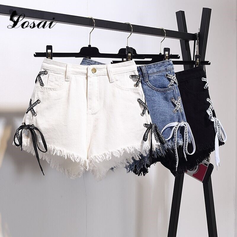 2019 New Plus Size 6XL Women Sexy High Waist Denim Shorts Bandage Tassel Ripped Jeans Shorts Summer Biker Shorts For Women
