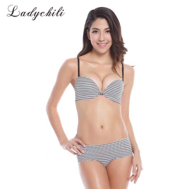 ff6122ee1ec8a Houndstooth Print Back Strip Front Closure Bra Set Sexy Push Up Seamless Bra  Sets One Piece 1 2 Cup Bra And Brief Set N80