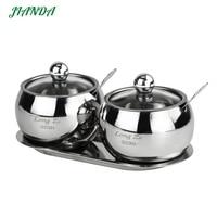 JIANDA Seasoning Box Magnetic Stainless Steel Salt and Pepper Shakers Jars for Spices Box Visual Seasoning Bottle Cooking tools