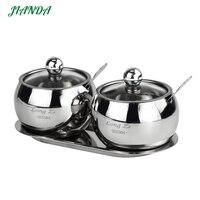 JIANDA Seasoning Box Stainless Steel Salt and Pepper Jars for Spices Box Visual Seasoning Bottle Cooking tools