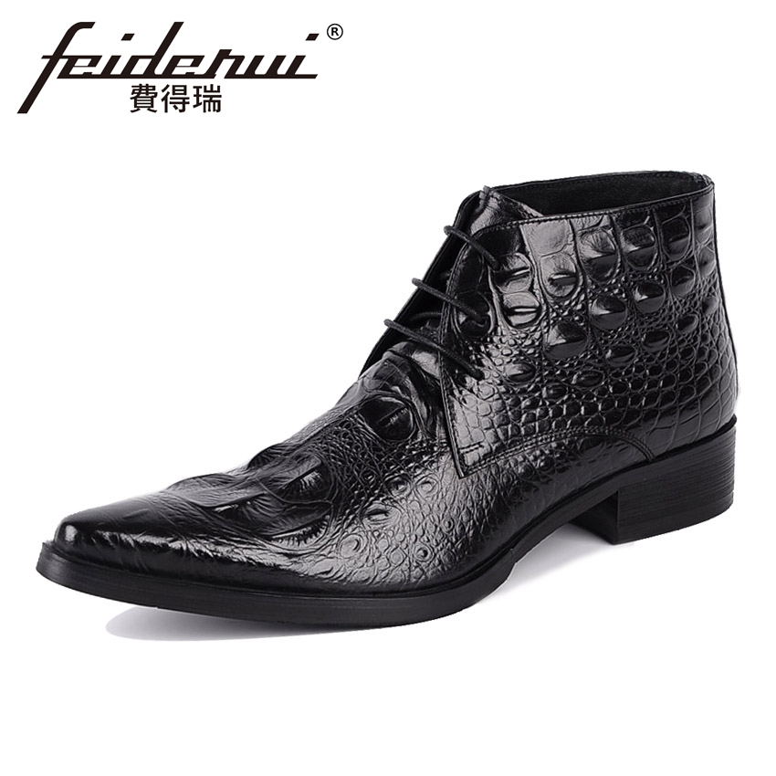 Luxury Genuine Leather Men's  Ankle Boots Alligator Pointed Toe Handmade Cowboy Riding Formal Dress Shoes For Man YMX91