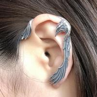 New Unique 1pc Real 925 Sterling Silver Left Ear Clip On Earrings With Piercing Animal Bird Earcuff Jewelry