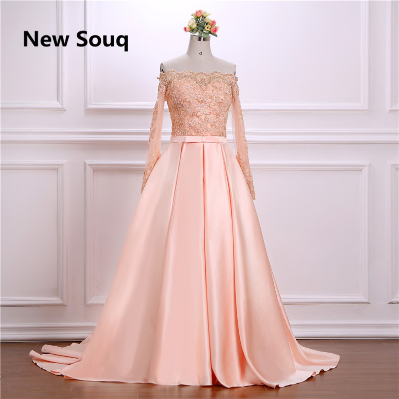 Elegant A-Line Satin Evening Dresses With Sequin Beading Lace Sweep Train Long Prom Dress Sexy Off Shoulder Party Gown
