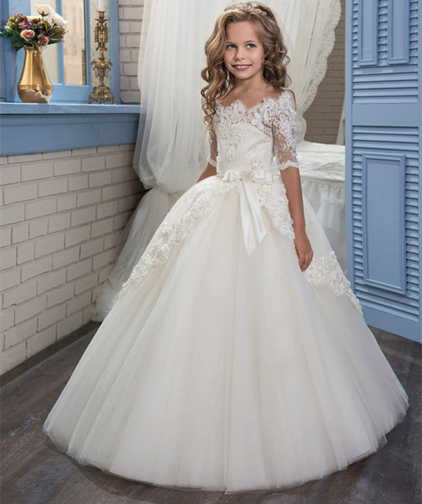 Flower     Girl     Dresses   White Lace Appliques Ball Gown First Communion   Dresses   Hot Sale Vestidos Longo Custom Make Size White Ivory