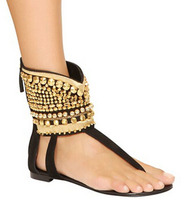 Hot Selling Gold Rivetd Drecor Ankl Wrap Beach Flat Sandals Woman Flat Gladiator Sandal Shoes