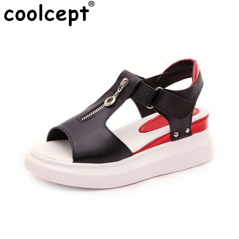 Coolcept Size 33-41 Fashion Women Korean Trifle Sandals Open Toe Thick Bottom Sandals Summer Daily Leisure Shoes Women Footwear aiykazysdl summer women sandals thick