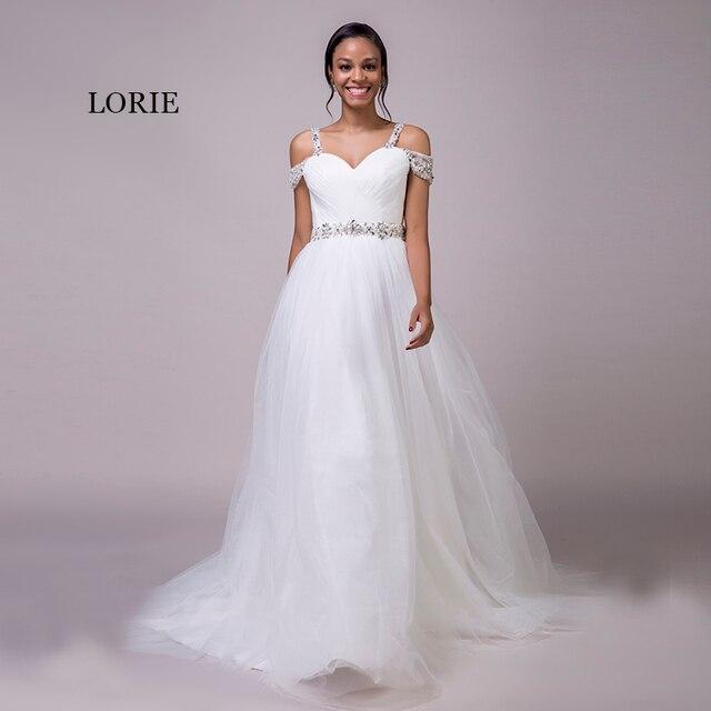 c29a372f108 Лори Пляжные Свадебные платья Спагетти ремень из бисера Пояса принцессы с  плеча Дешевые Свадебное платье белое