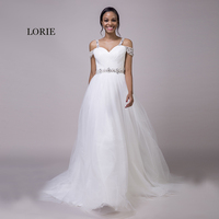 LORIE Beach Wedding Dresses Spaghetti Strap Beaded Sashes Princess Off the Shoulder Cheap Bridal Dress White wedding Gown 2018
