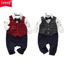 IYEAL Gentleman Baby Boys Clothes Children Newborn Bowtie Fake Two Pieces Romper Overalls  Toddler Boy Party Wedding Suits 0-18M