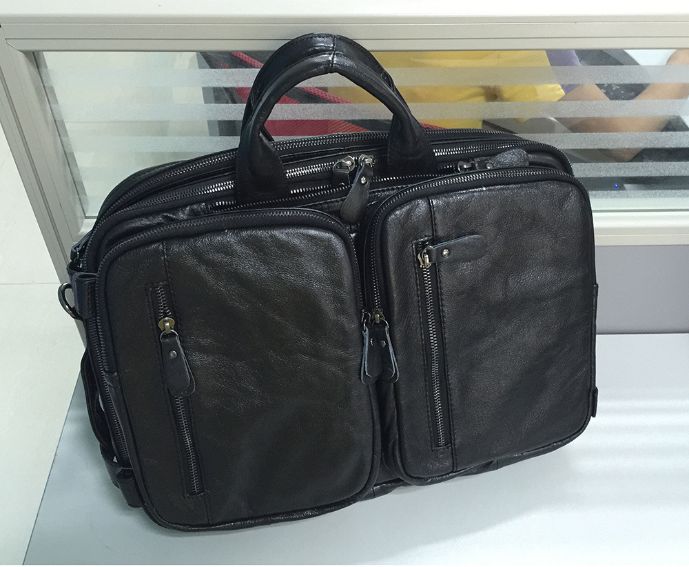 Nesitu Black Color Real Genuine Leather Men Messenger Bags Business Travel Bag Portfolio 14 inch Laptop Briefcase #M7014 nesitu good quality vintage men genuine leather briefcase messenger bags portfolio business travel 14 laptop bag mw j7092 2