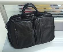 Nesitu Black Color Real Genuine Leather font b Men b font Messenger font b Bags b