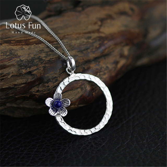 Lotus Fun Real 925 Sterling Silver Lapis Handmade Fine Jewelry Fresh Flower Design Pendant without Necklace Acessorios for Women
