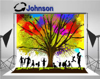 family tree Childhood Colorful Raster backdrops Vinyl cloth High quality Computer print children kids background