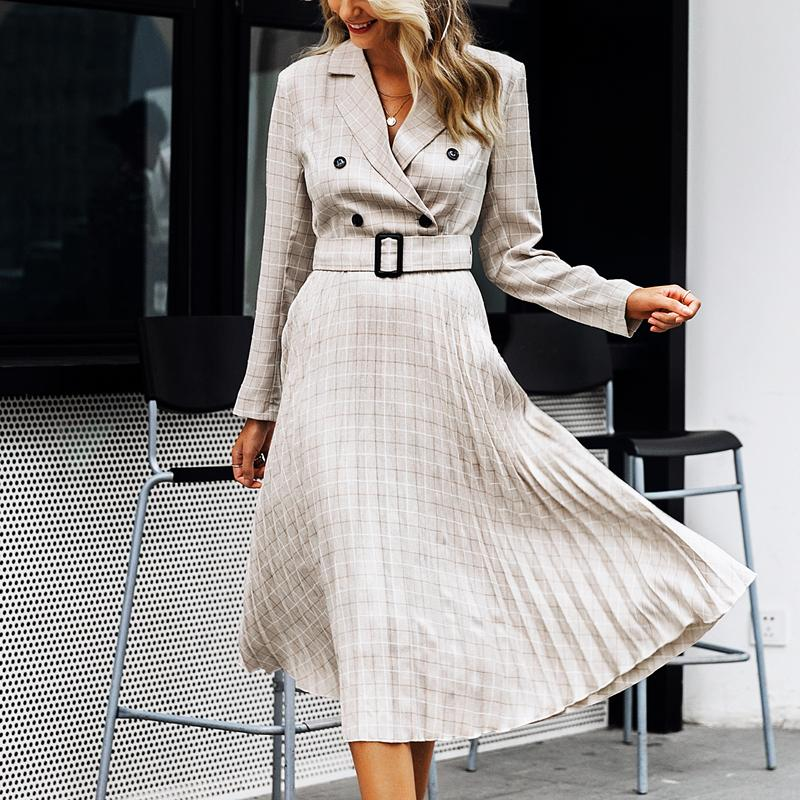 Turmeric sexy plaid dresses business dress button ladies blazer dress 2019 women belt long sleeve clothing for women with ruffle in Dresses from Women 39 s Clothing