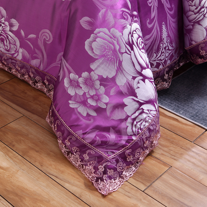 Liv Esthete Luxury Purple Satin Jacquard European Bedding Set Lace Side Duvet Cover Flat Sheet Queen King Bed Linen For Adult in Bedding Sets from Home Garden