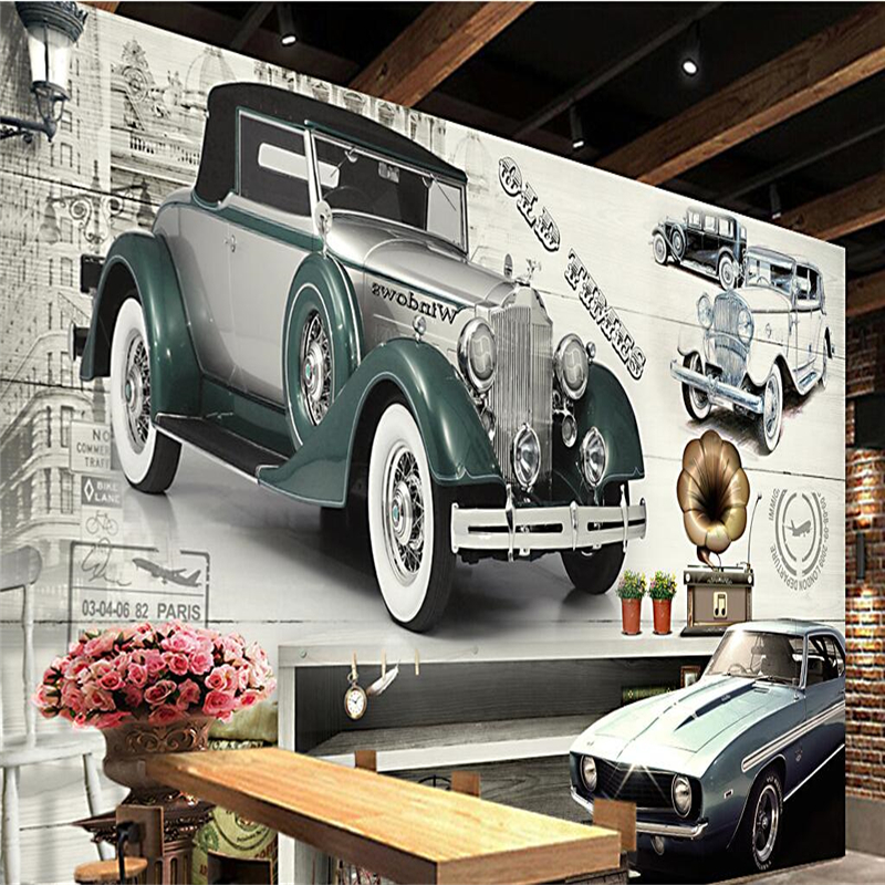 Beibehang Wallpaper Mural Wall Sticker Retro European Style Retro Classic Car Backdrop Wall Paper For Walls 3 D
