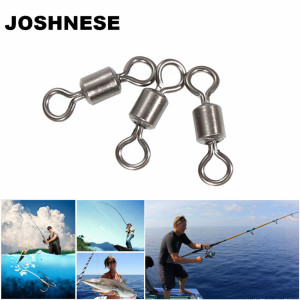 JOSHNESE 100pcsHigh Quality Fishing Swivels Ball Bearing Rolling Swivel Solid Rings Fishing Hook Connector Accessories,5 size