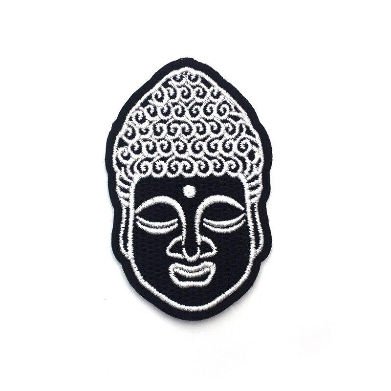 100 pcs/lot tête de bouddha fer sur Patch broderie couture bricolage personnaliser Denim coton Hippy hindou bouddhiste Hipster SC3225-in Patches à coudre from Maison & Animalerie    2