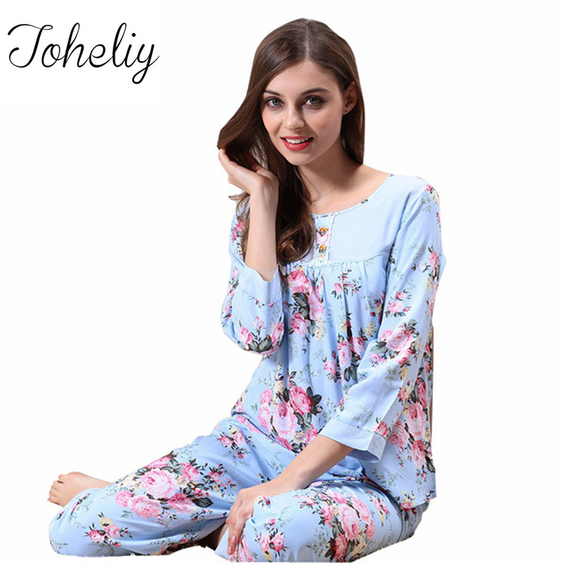 Queenplus Brand Women Pajamas 2017 Spring Summer Cotton Ladies Pajama Pants Set Female Sleep Lounge 2 Pcs Pijama Suit