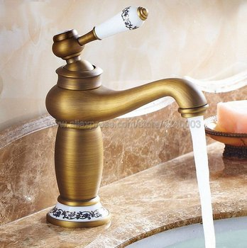 Basin Faucets  Bathroom Faucet Ceramic Single handle Basin Mixer Tap Bath Antique Faucet Brass Sink Water Knf503 rose gold plated style brass fauct water tap art short bathroom wash basin faucet mixer antique copper toilet sink basin faucet
