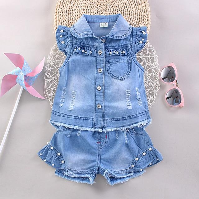 Ropa de la muchacha conjunto hijo de las flores ropa 2017 de verano para la ropa de marca niños Denim top y shorts ropa para las muchachas del verano