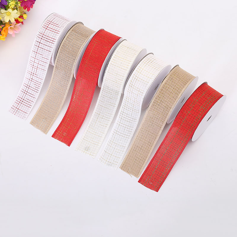 Hot Sale Crafts Decorative Ribbon 3 8cm Wide Gold Silk Imitation Linen 7 Colors Random Optional Decorative Printing Ribbon in Ribbons from Home Garden