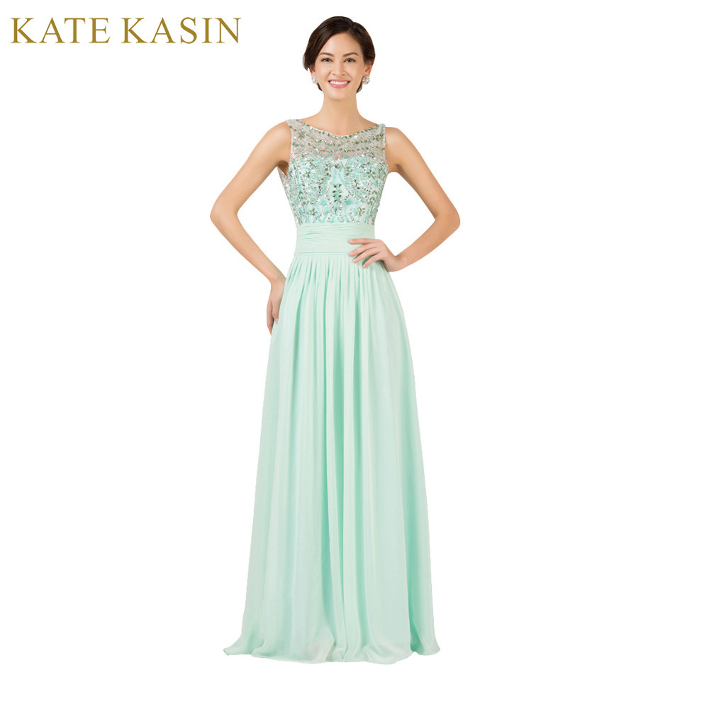 Princess Design Backless Evening Dresses 2017 Mint Green Chiffon Party Gowns Sexy Beading Long Evening Gown