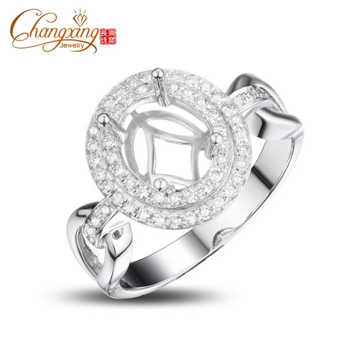 8x6mm Oval Real 14k White Gold 0.36ct Diamond Engagement Wedding Semi Mount Ring