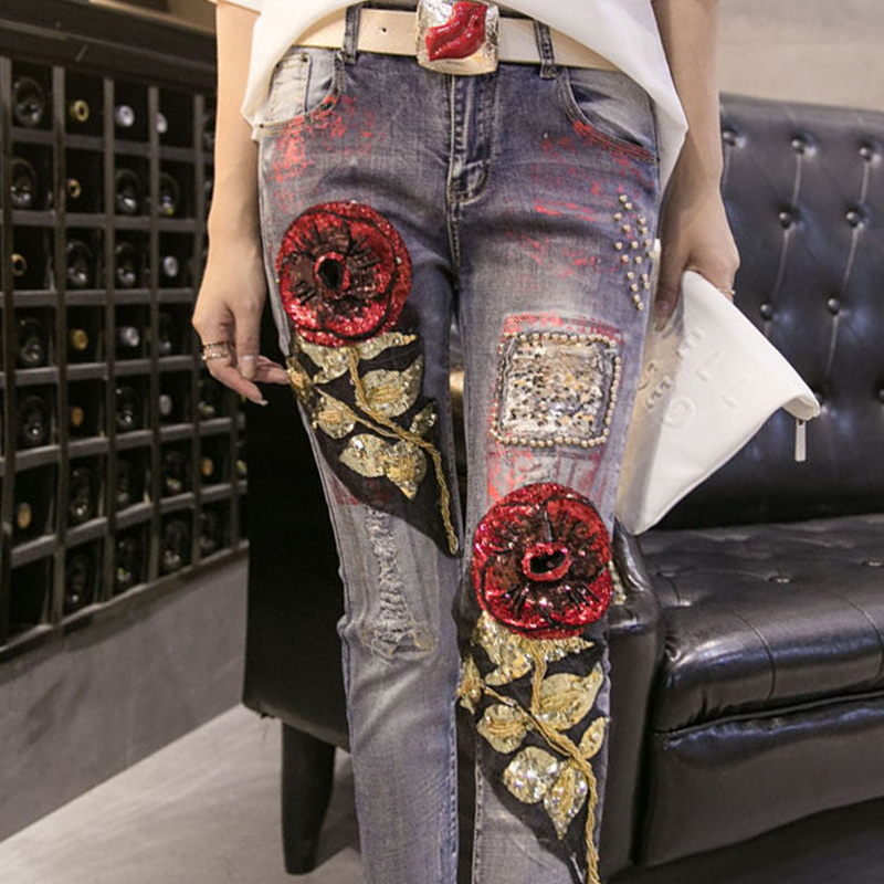 new 2017 spring casual jeans Fashion sequins ladies jeans mid rised Pure cotton frazzle embroider women