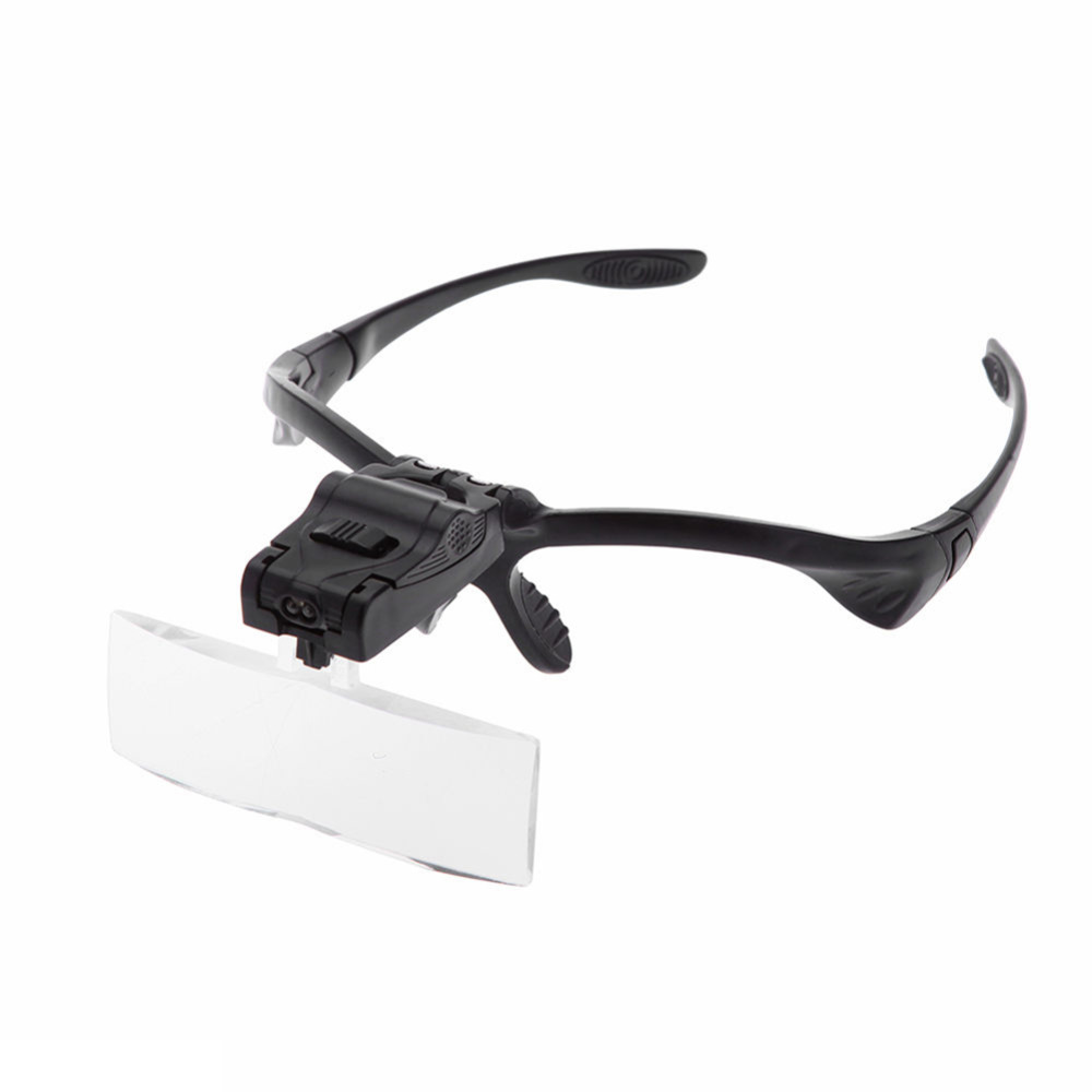 Glasses Magnifier 1.0X 1.5X 2.0X 2.5X 3.5X Adjustable Lens LED Illuminated Headband Glasses Bracket Magnifie Optical Instruments