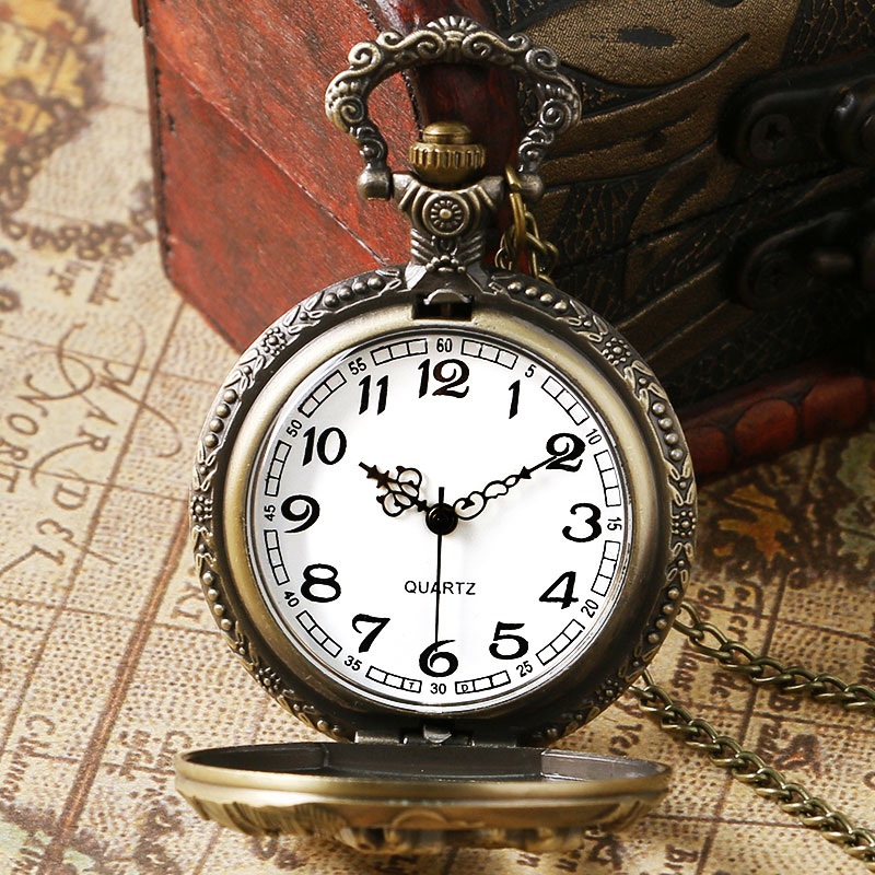 Купить с кэшбэком Vintage Pocket Watch Bronze Dog Wolf Hollow Quartz Pendant Clock Fob Necklace Chain Gift 2020 New Arrivals relogio de bolso