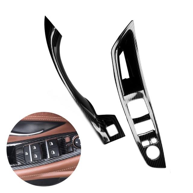 Cubierta protectora para Manilla de puerta Interior de coche, fibra de carbono, para BMW serie 5, F10, F18, 2011, 2012, 2014, 2015, 2016, 2017