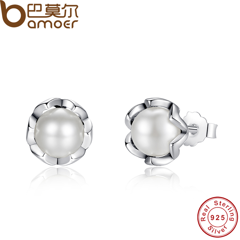 BAMOER 925 Sterling Silver Cultured Elegance Stud Earrings Dengan Air Tawar Putih Mutiara Sterling Perhiasan Perak PAS420