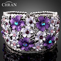 Chran New Fashion New Arrival Romantic Violet Purple Flower Rhinestone Opening Style bangles bracelets hand cuff for Women Gifts