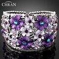 Chran nova moda de nova chegada romântico violet flor roxa strass estilo abertura pulseiras mão pulseiras manguito para as mulheres presentes