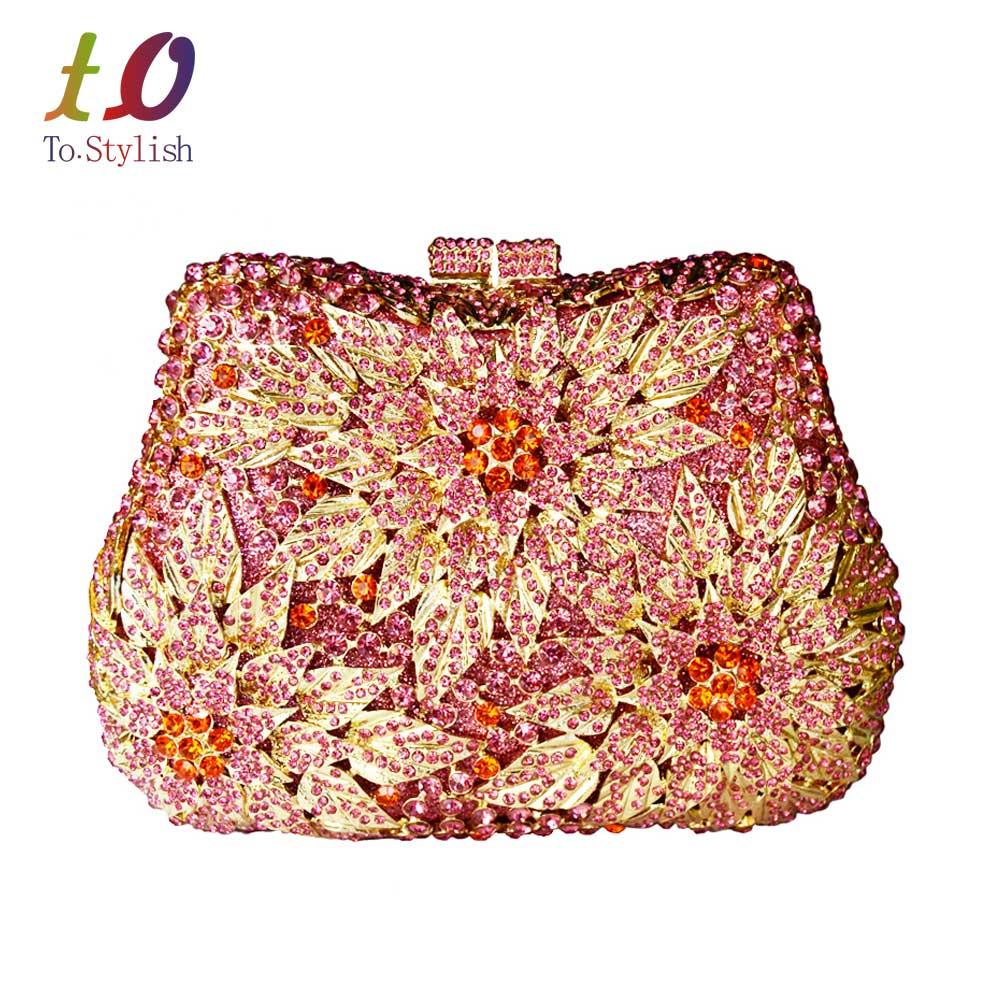 Clásicos bolsos de Embrague diseñador tachonado Floral jeweled damas De cristal