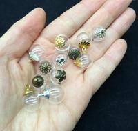 20 conjunto de 14*4mm globo de Vidro medalhão 4mm oco bolha tampa da cúpula desejando garrafa colar de esferas bola redonda charme frasco frascos diy pingente