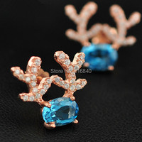 Natural Topaz Stud Earring 925 Sterling silver Classic Crystal Fashion Fine Elegant Jewelry Christmas Deer Birthstone Girl Gift