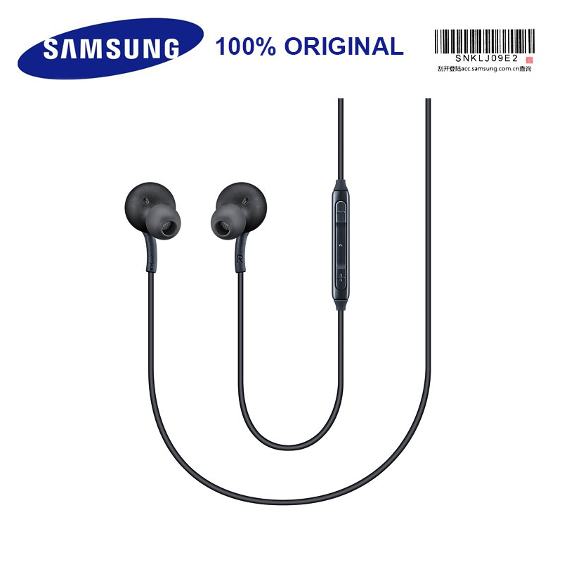 SAMSUNG Earphones Black IG955 3.5mm In-ear with Microphone Wire Headset for Samsung Galaxy S8 Support Official Test Free Gift ovevo s8 wired in ear earphones black
