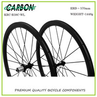 Road Bike Wheels 700c Clincher Wheelset 38mm Ud Carbon Fiber Fabric Wheel Powerway R13 Hub