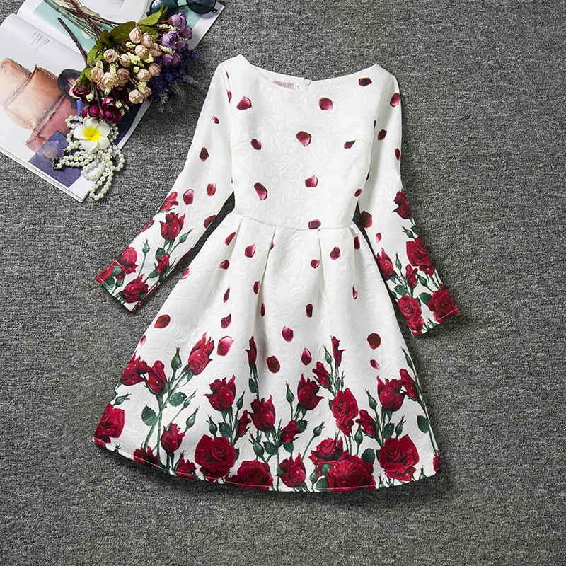 Outono adolescentes vestidos da menina para a criança flor vestidos de manga longa crianças vestidos adolescentes vestido de festa infantil 10 12 anos