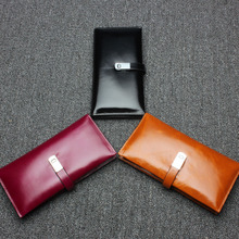 Womens new leather storage magnetic buckle wallet Korean style large-capacity clutch bag multi-card