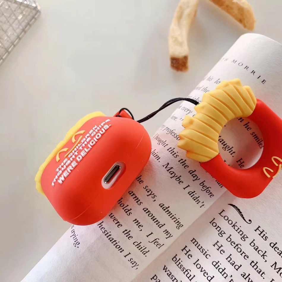 สำหรับ AirPods กรณี 3D น่ารักบิสกิต Cola Burger หูฟังสำหรับ Apple Airpods 2 ตลกป้องกันฝาครอบแหวนนิ้วมือสายคล้อง