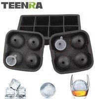 TEENRA 3 Pcs/ensemble 8 Cavité glace cubes et Boules Ensemble Moule De Glace De Silicone Maker 8 Carré Cube Moule Et 4 Sphère De Glace Moule Boule Avec entonnoir