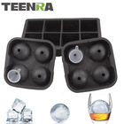 TEENRA 3Pcs/set 8 Cavity ice cubes & Balls Set Silicone Ice Mold Maker 8 Square Cube Mold And 4 Ice Sphere Mold Ball With Funnel