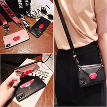 wallet card leather shoulder strap case for iphone 11 pro max 8 7 6 6s plus X XR XS MAX fashion Red lips holder phone bag capa wallet strap case for iphone 11 pro max xr x xs max 7 8 6s 6 plus case cover luxury leather card shoulder lanyard phone bag capa