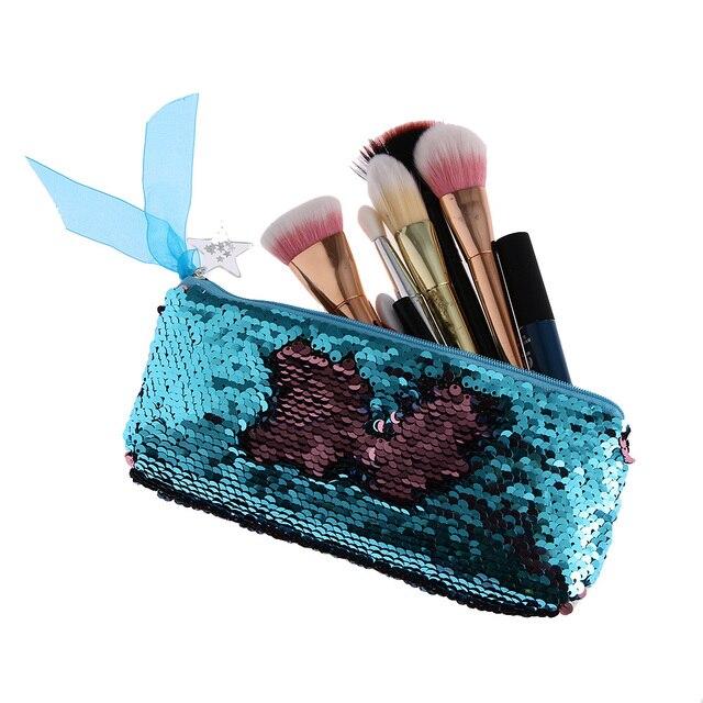 Mermaid Sequins Cosmetic Bag Women Double Color Paillettes Pencil Bags  Makeup Brush Pouch Fashion Makeup Bag Handbags Purse 07dc1a96c911